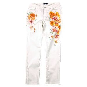 Chaps Jeans White Floral Print Straight Stretch
